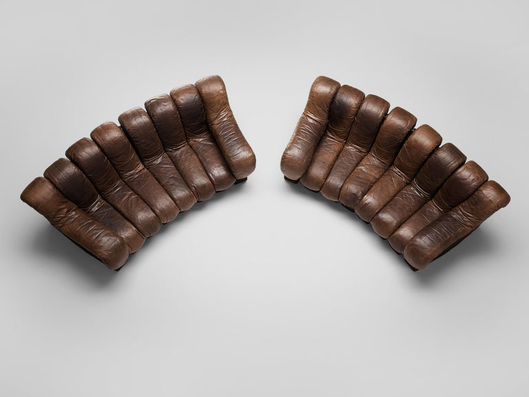 Pair of De Sede DS-600 Sofas in Brown Leather For Sale 3