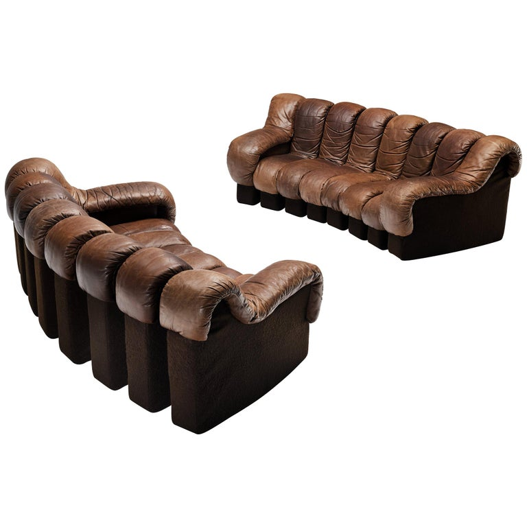 Pair of De Sede DS-600 Sofas in Brown Leather For Sale