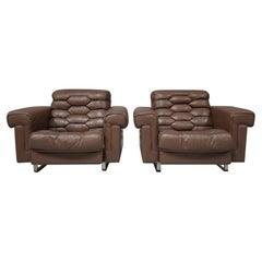 Pair of De Sede DS-P Leather Armchairs by Robert Haussmann, Switzerland, 1971