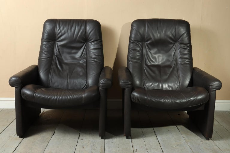 Swiss Pair of De Sede DS50 Reclining Armchairs For Sale