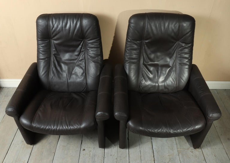 Pair of De Sede DS50 Reclining Armchairs In Good Condition For Sale In Paddock Wood, Kent