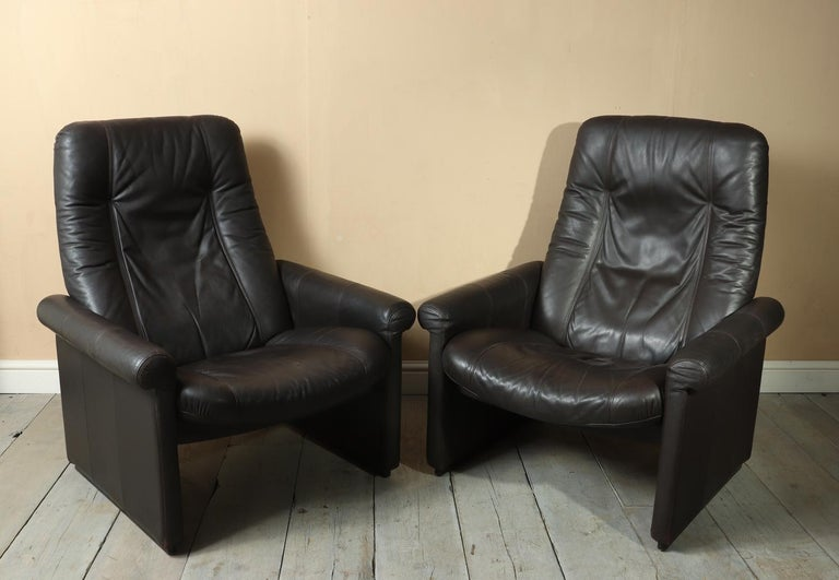 Late 20th Century Pair of De Sede DS50 Reclining Armchairs For Sale
