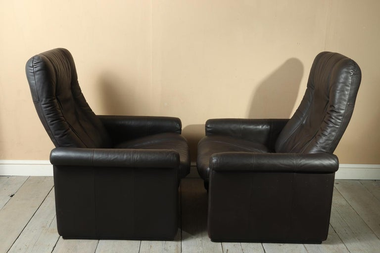 Leather Pair of De Sede DS50 Reclining Armchairs For Sale