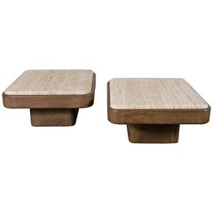 Pair of De Sede Leather End Tables with Travertine Top