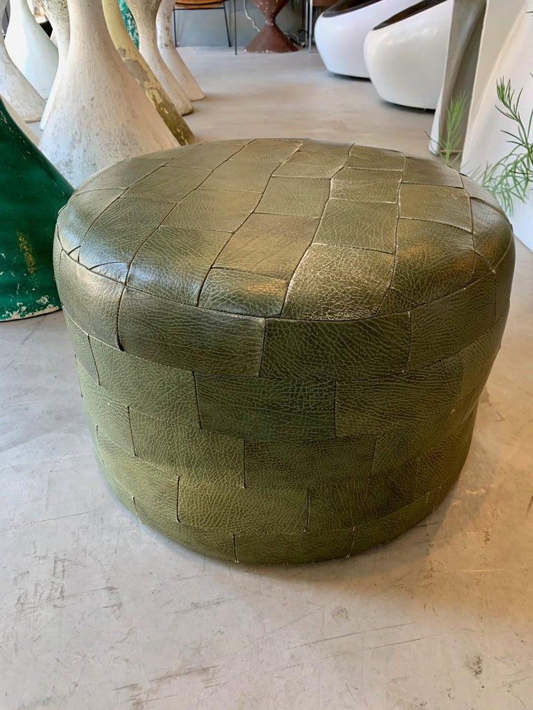 Pair of De Sede Olive Leather Patchwork Ottomans For Sale 6