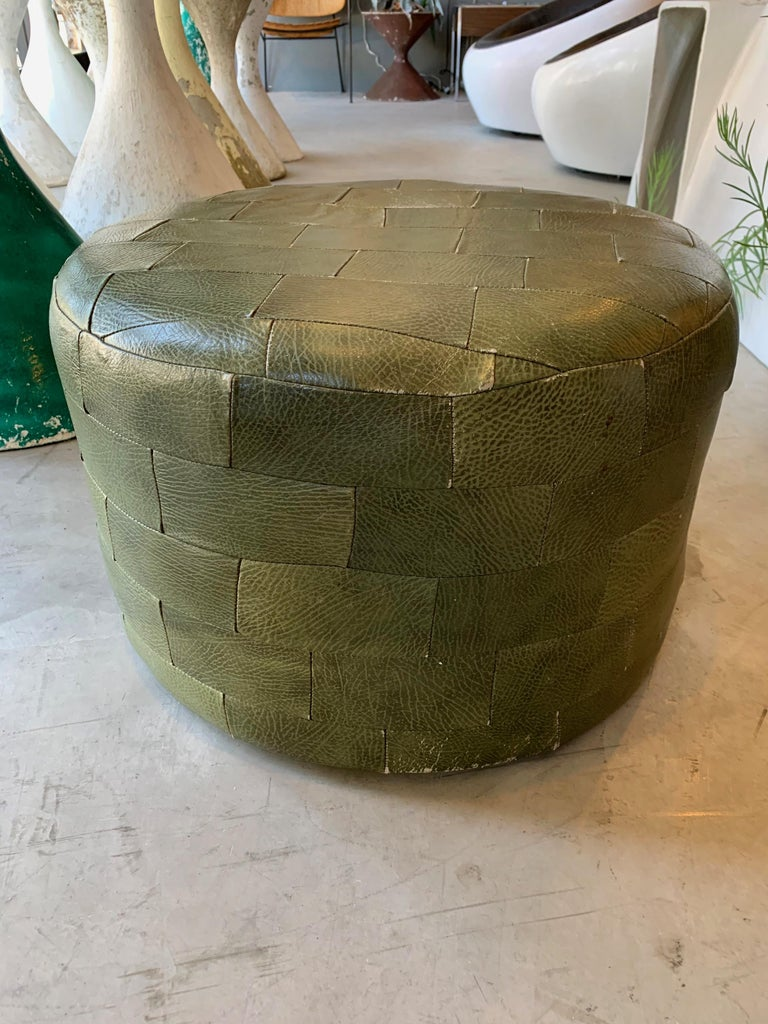 Pair of De Sede Olive Leather Patchwork Ottomans For Sale 7