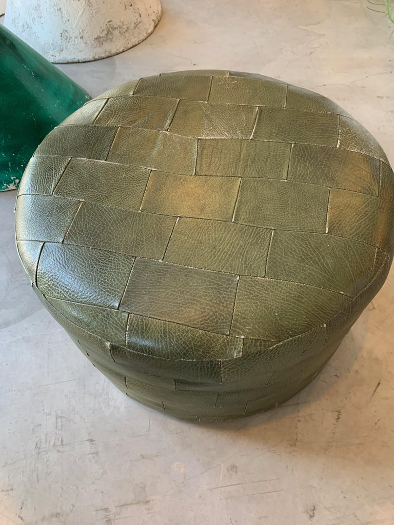 Pair of De Sede Olive Leather Patchwork Ottomans For Sale 8