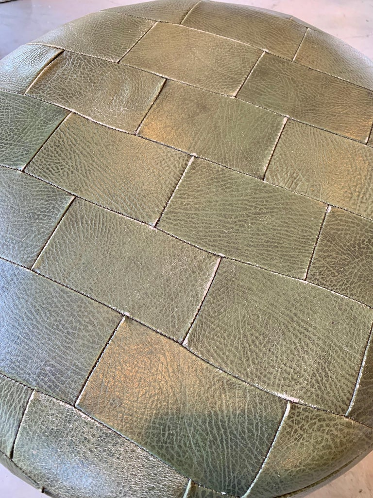 Pair of De Sede Olive Leather Patchwork Ottomans For Sale 9