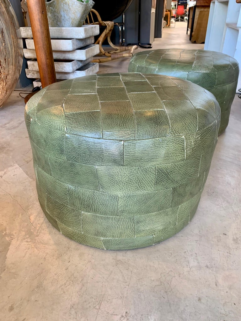 Swiss Pair of De Sede Olive Leather Patchwork Ottomans For Sale