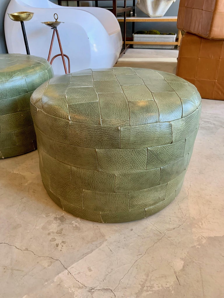 Pair of De Sede Olive Leather Patchwork Ottomans In Good Condition For Sale In Los Angeles, CA