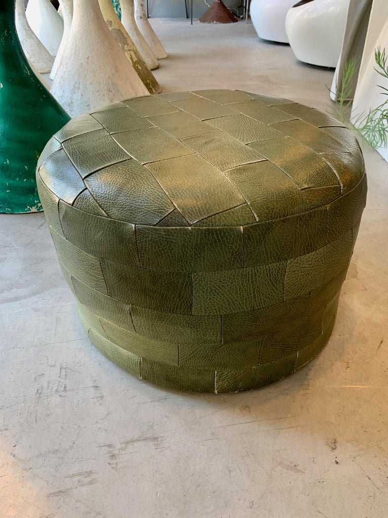 Late 20th Century Pair of De Sede Olive Leather Patchwork Ottomans For Sale