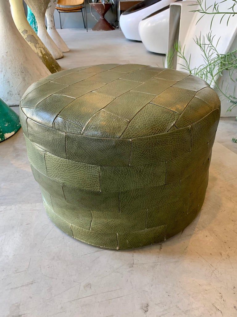 Pair of De Sede Olive Leather Patchwork Ottomans For Sale 1