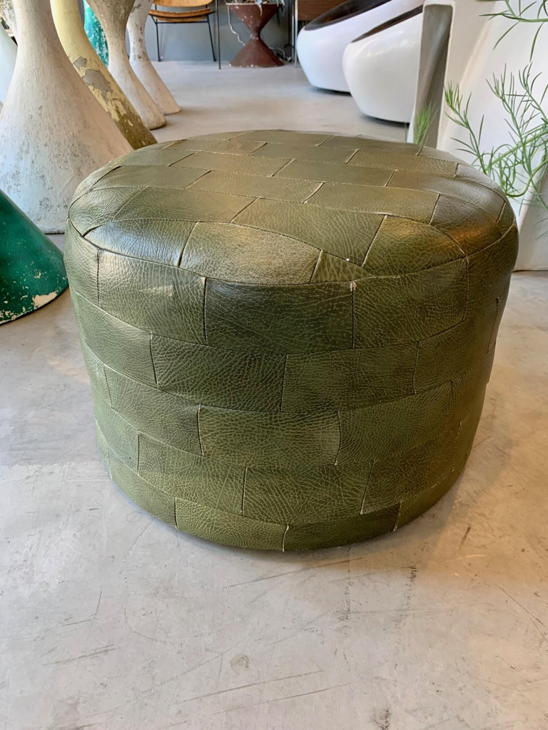 Pair of De Sede Olive Leather Patchwork Ottomans For Sale 2