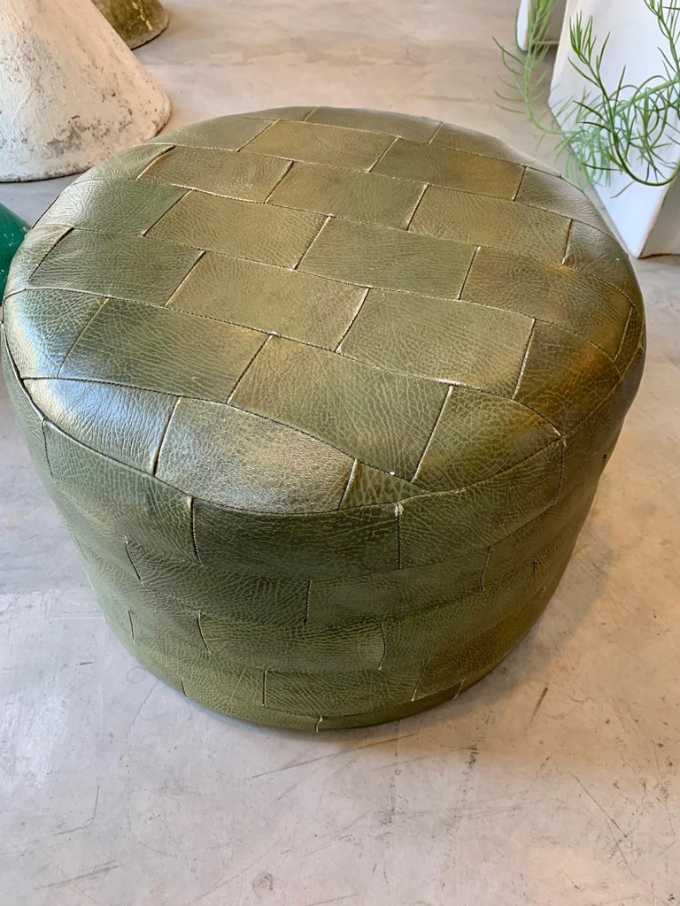 Pair of De Sede Olive Leather Patchwork Ottomans For Sale 3