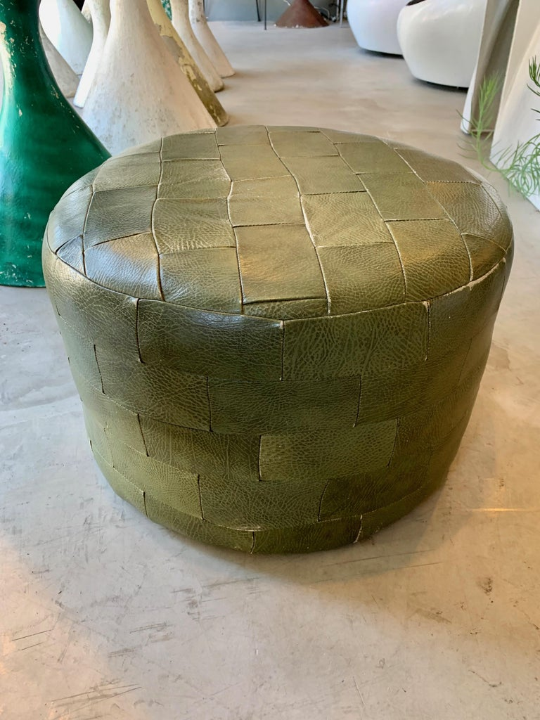 Pair of De Sede Olive Leather Patchwork Ottomans For Sale 4