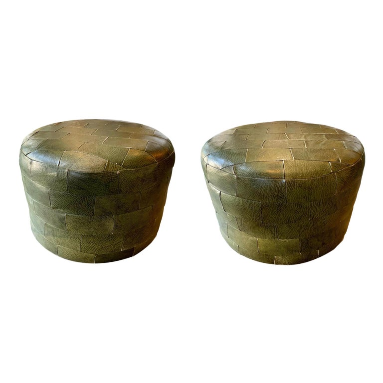 Pair of De Sede Olive Leather Patchwork Ottomans For Sale
