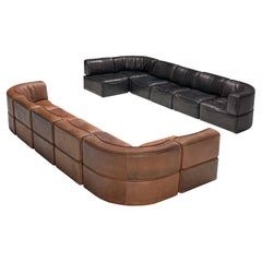 Pair of De Sede Sectional Sofas Model 'DS15' in Patinated Leather