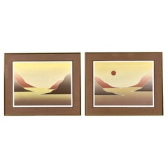 Pair of Dean Hayes 1970s Landscape Original Limited Signed Screen Prints with Co