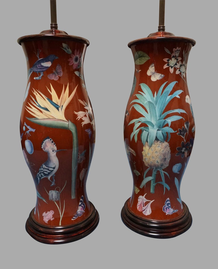 English Pair of Decalcomania Baluster Form Lamps of Large Scale For Sale