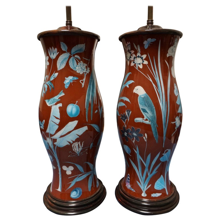 Pair of Decalcomania Baluster Form Lamps of Large Scale For Sale