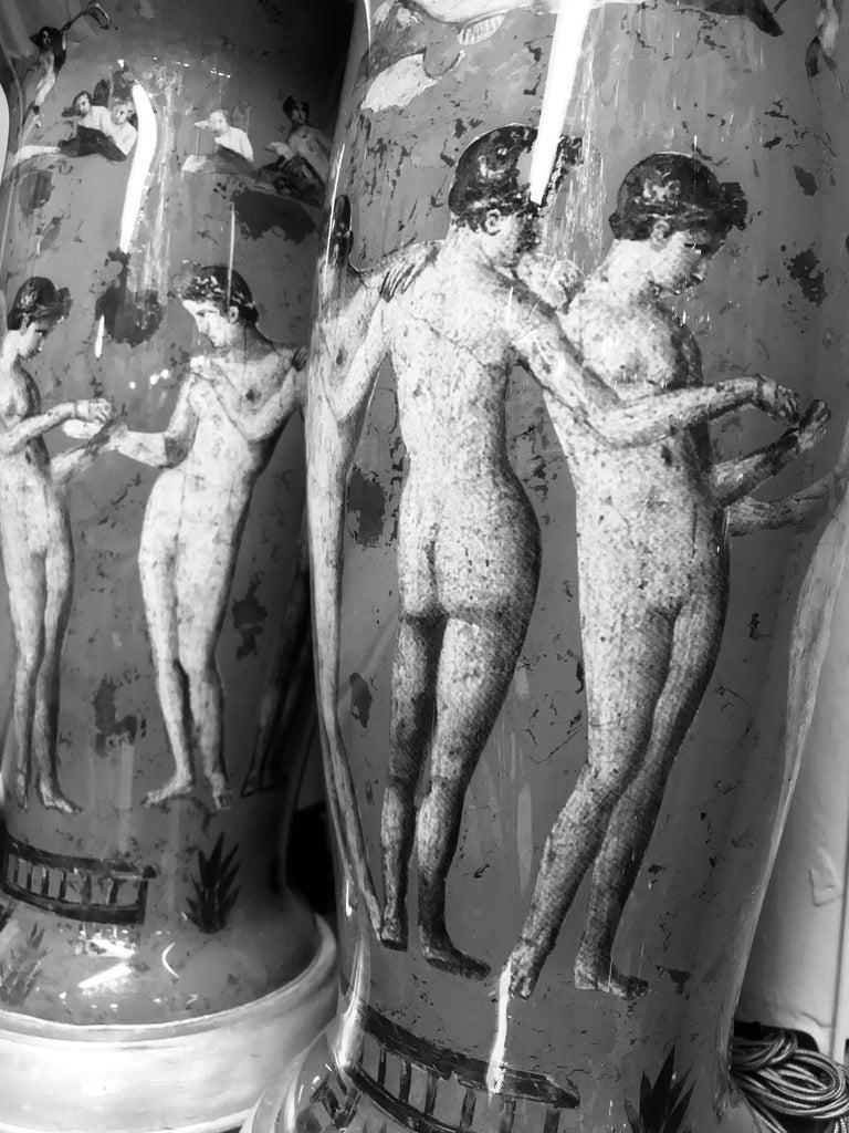 English Pair of Declamania Lamps Depicting Pompeian Scenes