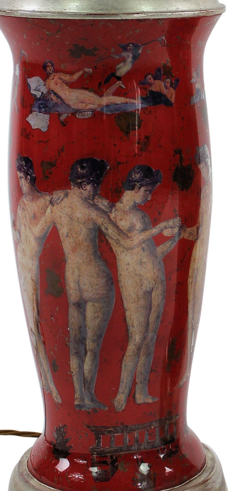 Pair of Declamania Lamps Depicting Pompeian Scenes In Excellent Condition In London, GB