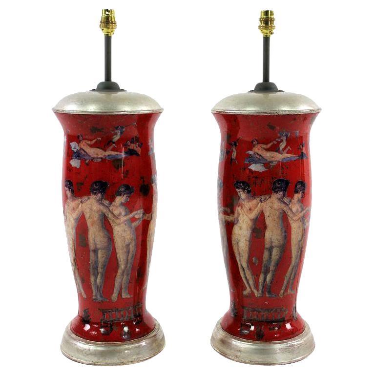 Pair of Declamania Lamps Depicting Pompeian Scenes