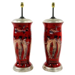 Pair of Declamania Lamps Depicting Pompeian Scenes