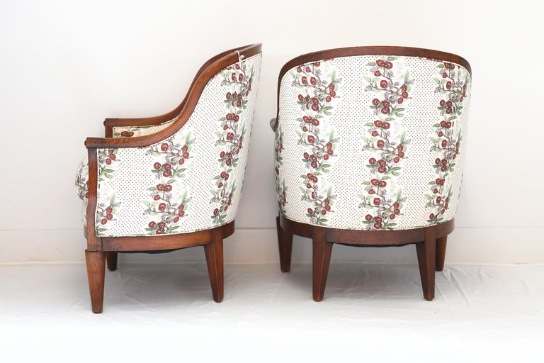 Pair of Vintage deco oak armchairs, newly upholstered in Ferrick Mason. FRN793.