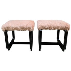 Pair of Deco Benches in Black Lacquered Wood and Pale Pink Eco Fur Seats, 1930