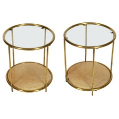 Pair of Deco Brass Two-Tier Round Side Tables