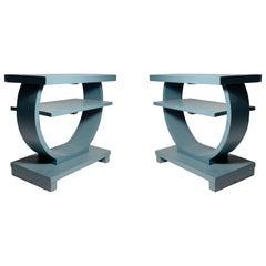 Pair of Deco Brown Saltman Circular End Shelf Tables
