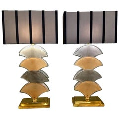 Pair of Deco Fan-Shaped Cream and Grey Murano Glass Table Lamps Brass Base 1940s