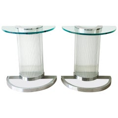 Pair of Deco Influenced Chromed Steel and Glass Console Tables