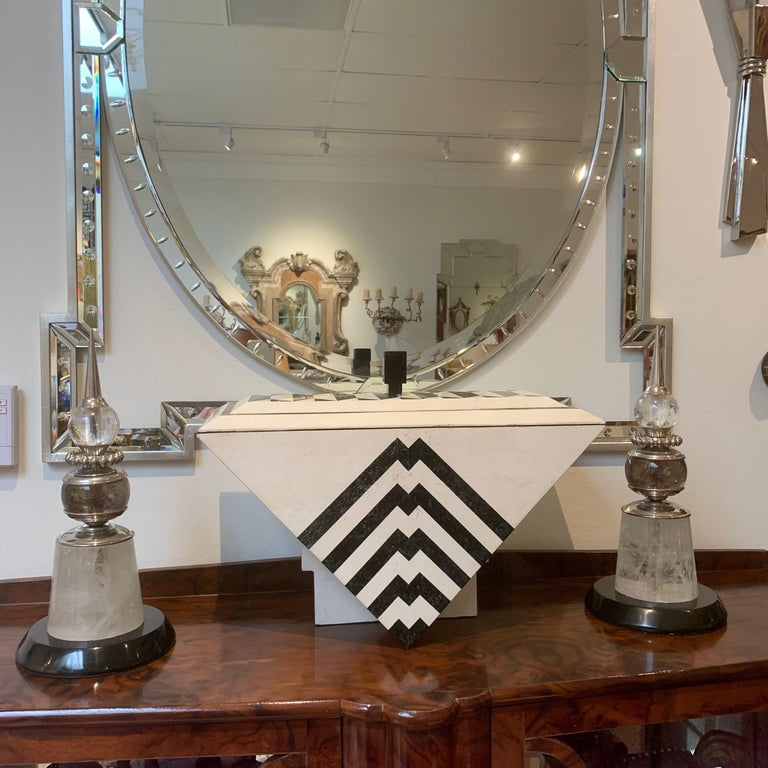 Pair of Deco Modern Spears, Polished Nickel, Rock Crystal, Marble In Good Condition For Sale In Los Angeles, CA