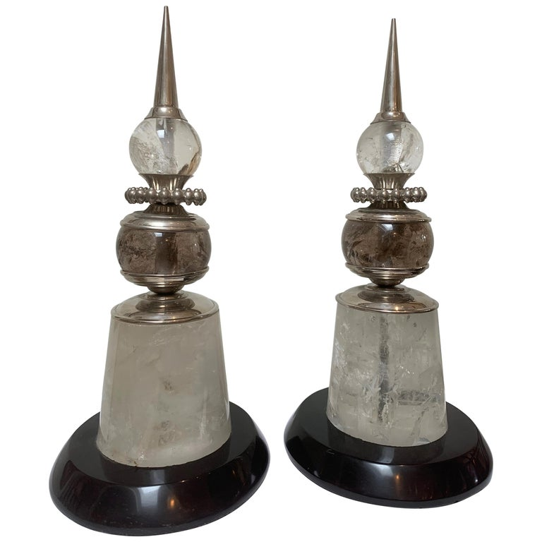 Pair of Deco Modern Spears, Polished Nickel, Rock Crystal, Marble For Sale
