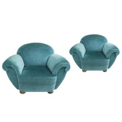 Pair of Deco Style Blue Velvet French Armchairs, France, 1920s