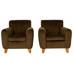 Pair of Deco Style Olive Club Chairs
