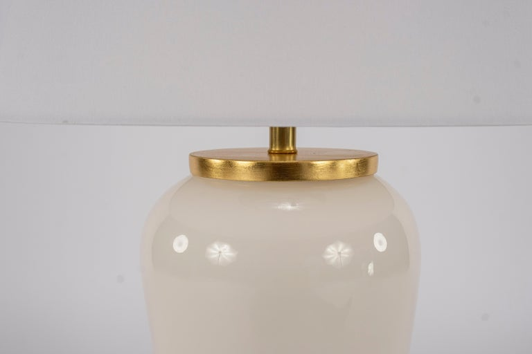 Art Deco Pair of Deco Style White Glass Lamps For Sale