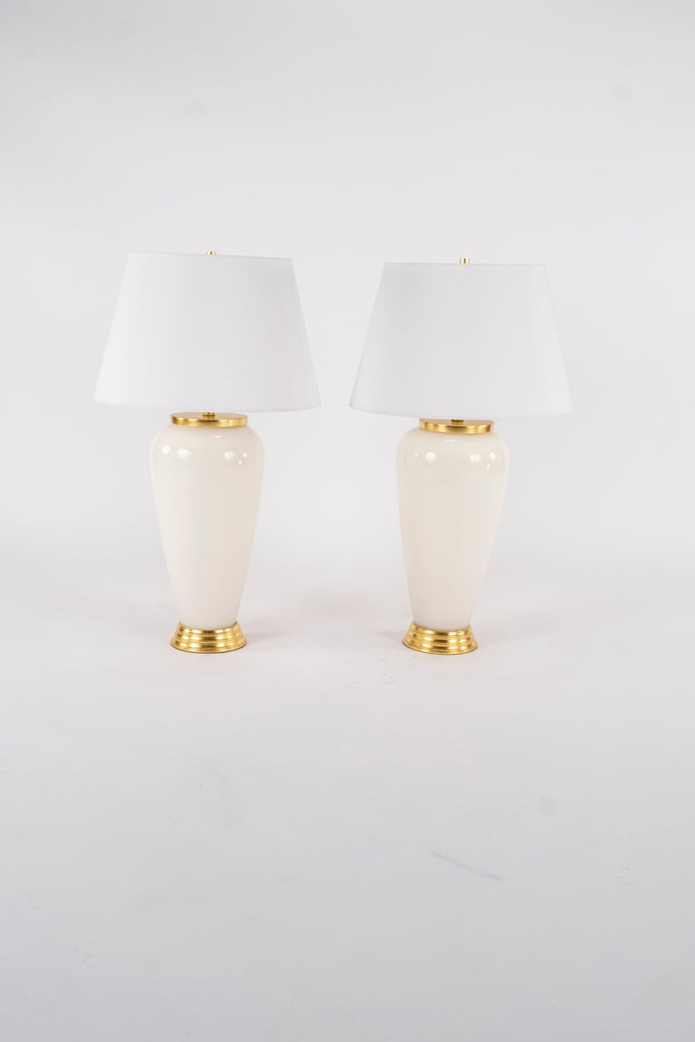 Gilt Pair of Deco Style White Glass Lamps For Sale
