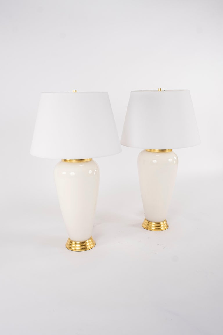 Pair of Deco Style White Glass Lamps In New Condition For Sale In Houston, TX