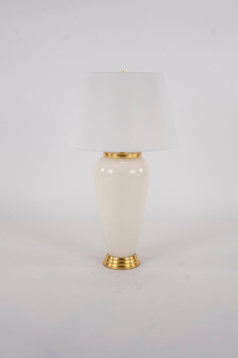Blown Glass Pair of Deco Style White Glass Lamps For Sale