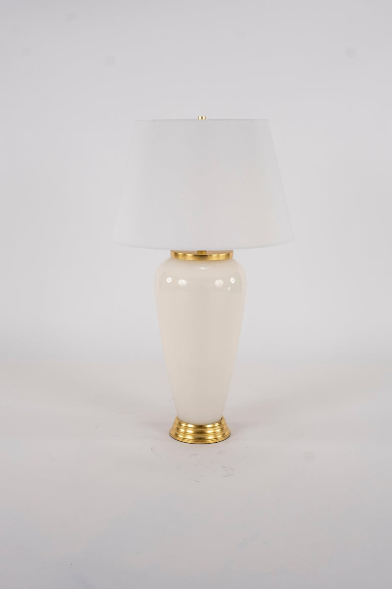 Pair of Deco Style White Glass Lamps For Sale 1