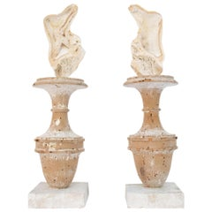 Pair of Decorated 17th Century Italian Fragment Vases