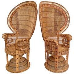 Pair of Decorated Woven Rattan Peacock Chairs