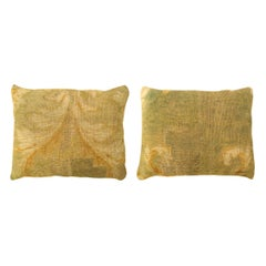 Pair of Decorative Antique European Savonnerie Carpet Pillows