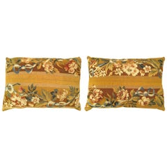 Pair of Decorative Antique French Aubusson Carpet Pillow with Floral Gold Brocad