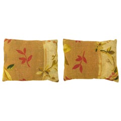 Pair of Decorative Antique French Aubusson Carpet Pillows