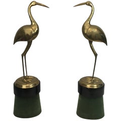 Pair of Decorative Brass Ibis on Wooden Stands