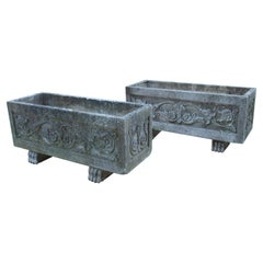 Pair of Decorative Cast Garden Planters from France